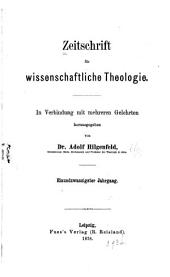 Zeitschrift für wissenschaftliche Theologie: Band 21