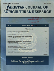 Pakistan Journal of Agricultural Research PDF
