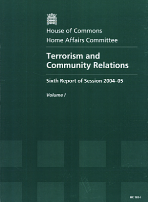 Terrorism and Community Relations  Report  together with formal minutes and appendix PDF