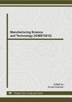 Manufacturing Science and Technology  ICMST2013  PDF