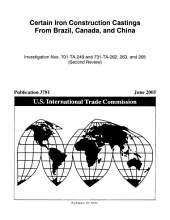 Iron construction castings from Brazil, Canada, and China: investigation nos. 701-TA-249 and 731-TA-262, 263, and 265 (third review)
