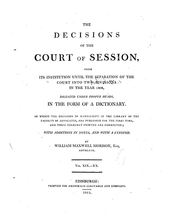 The Decisions of the Court of Session