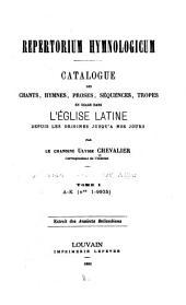 Repertorium hymnologicum: Volume1