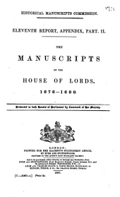 The Manuscripts of the House of Lords: Volumes 1678-1688