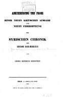 Ank  ndigung und Probe einer neuen kritischen PDF