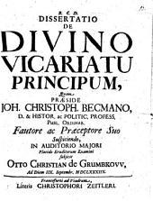 Diss. de divino vicariatu principum