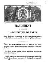 Mandement de Monseigneur l'archevêque de Paris, pour développer et confirmer le décret du Concile de Paris relatif à l'intervention du clergé dans les affaires politiques