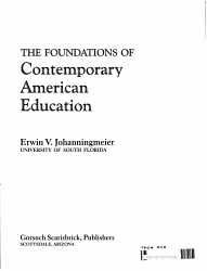 The Foundations Of Contemporary American Education Book PDF