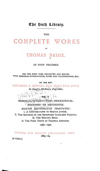 Download The Complete Works of Thomas Nashe Book
