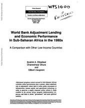 World Bank Adjustment Lending and Economic Performance in Sub-Saharan Africa in the 1980s: A Comparison with Other Low-income Countries