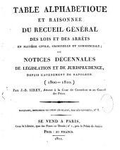 Table alphabétique des lois et arrêts...J. B. Sirey: 1800-1810