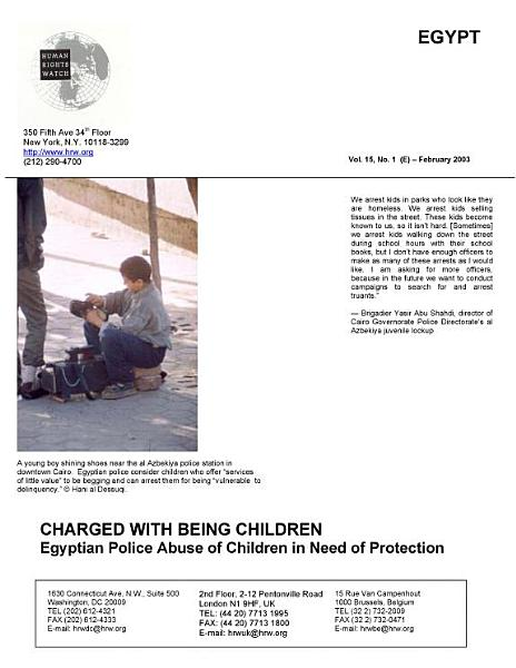 Charged with Being Children  Egyptian Police Abuse of Children in Need of Protection PDF