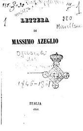 Lettera di Massimo Azeglio