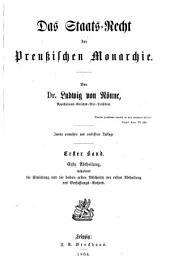 Das Staats-Recht der Preussischen Monarchie: Band 1,Ausgabe 1