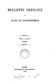 Algérie. Bulletin officiel des actes du gouvernement