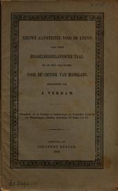 Nieuwe aanwinsten voor de kennis van onze Middelnederlandsche taal en in het bijzonder voor de critiek van Maerlant: Volume 1