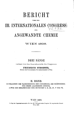 Bericht   ber den III  internationalen congress f  r angewandte chemie  Wien 1898