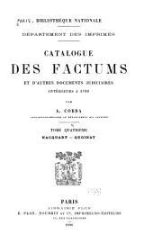 Catalogue des factums et d'autres documents judiciaires anterieurs a 1790: Nacquart-Quoinat