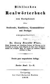Biblisches Realwörterbuch zum Handgebrauch für Studirende, Candidaten, Gymnasiallehrer und Prediger: Band 2