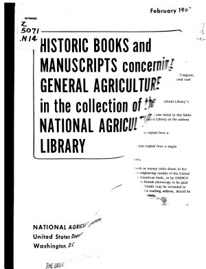 Historic Books and Manuscripts Concerning General Agriculture