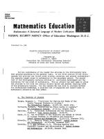 Selected Bibliography of Current Articles in Mathematics Education