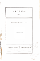 Algebra ...: Instruction paper