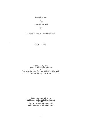 Lesson Guide for Captioned Films  XX PDF