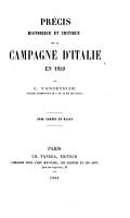 Pr  cis historique et critique de la Campagne d Italie en 1859     Avec cartes et plans PDF