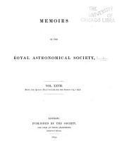 Memoirs of the Royal Astronomical Society: Volumes 27-29