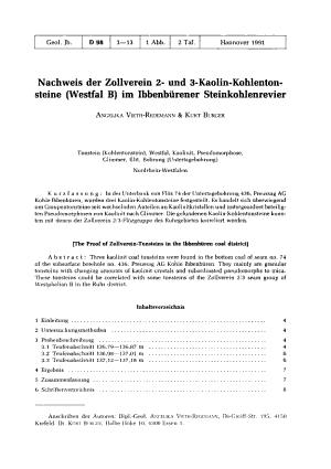 Nachweis der Zollverein 2  und 3 Kaolin Kohlentonsteine  Westfal B  im Ibberb  rener Steinkohlenrevier PDF