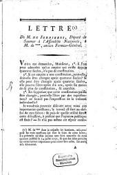 Lettre de M. de Ferrières a M. de ... , ancien fermier-general