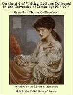 On the Art of Writing: Lectures Delivered in the University of Cambridge 1913-1914