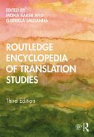 Routledge Encyclopedia of Translation Studies PDF