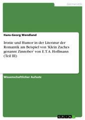 Ironie und Humor in der Literatur der Romantik am Beispiel von 'Klein Zaches genannt Zinnober' von E. T. A. Hoffmann: Teil 3