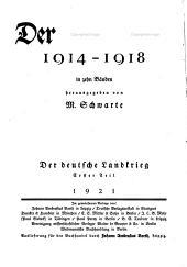 Der grosse krieg, 1914-1918: Band 1