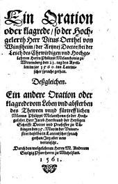 Ein Oration oder Klagrede ... des Vitus Oerthel ... bei der Leich ... Philippi Melanthonis ...
