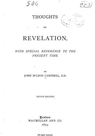 Thoughts on Revelation  with Special Reference to the Present Time PDF