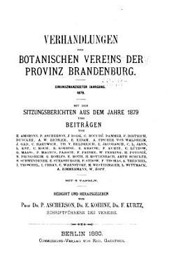 Verhandlungen des Botanischen Vereins f  r die Provinz Brandenburg PDF