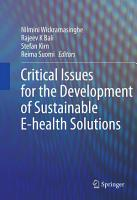 Critical Issues for the Development of Sustainable E health Solutions PDF