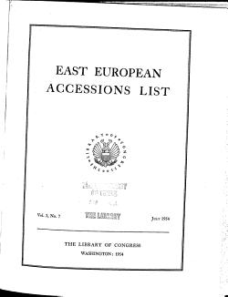 East European Accessions List PDF