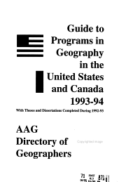 Guide to Programs of Geography in the United States and Canada PDF