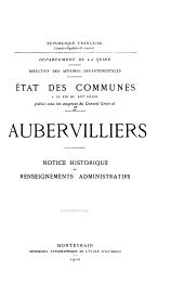 État des communes à la fin du XIXe siècle: Aubervilliers - Bois-Colombes