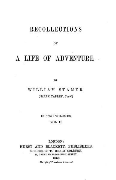 Recollections of a Life of Adventure PDF