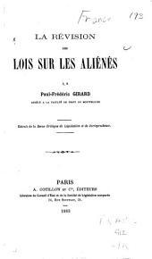 La révision des lois sur les aliénés