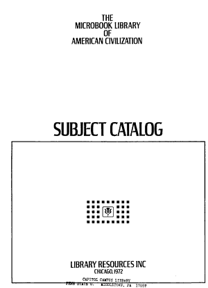 The Microbook Library of American Civilization  Subject catalog PDF