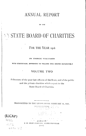 Annual Report of the State Board of Charities of the State of New York