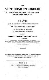 De Victorino Strigelio liberioris mentis in ecclesia Lutheria vindice