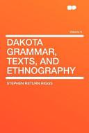 Dakota Grammar  Texts  and Ethnography PDF