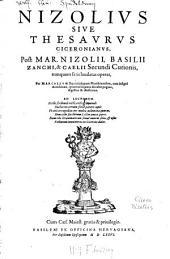 Nizolius Sive Thesaurus Ciceronianus
