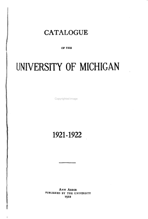 Catalogue of the University of Michigan PDF